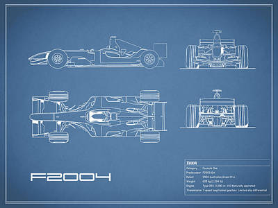 Michael Photograph - The F2004 Gp Blueprint by Mark Rogan