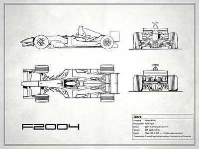 Formula One Photograph - The F2004 Gp Blueprint - White by Mark Rogan
