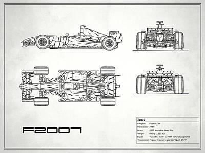 Formula One Photograph - The F2007 Gp Blueprint - White by Mark Rogan