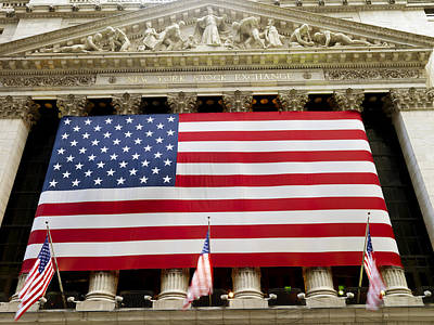 Flag Draped Photograph - The Facade Of The New York Stock by Justin Guariglia