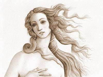 Female Drawing - The Face Of A Goddess In Sepia by Stevie the floating artist