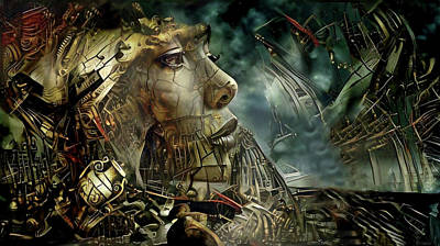 Steampunk Mixed Media - The Face of Destruction by Lilia D