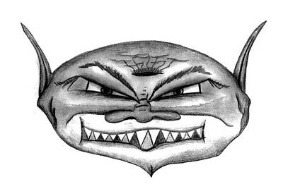 Drawing - The Face Of Evil by Matt Harang