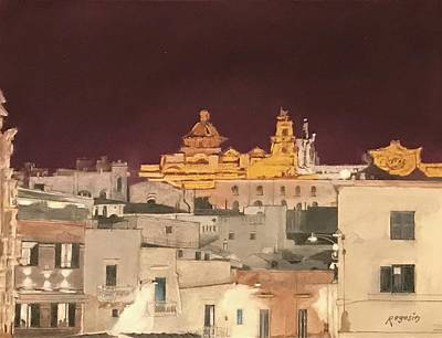 Pastel - The Face Of Ostuni, Puglia Italy by Harvey Rogosin