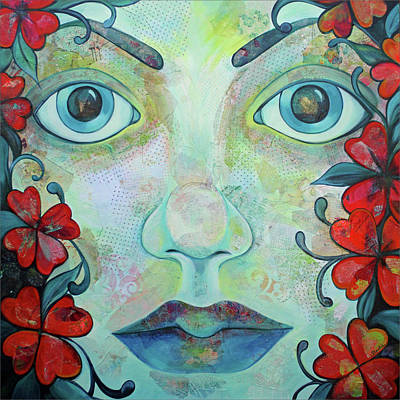 Greek Painting - The Face Of Persephone I by Shadia Derbyshire