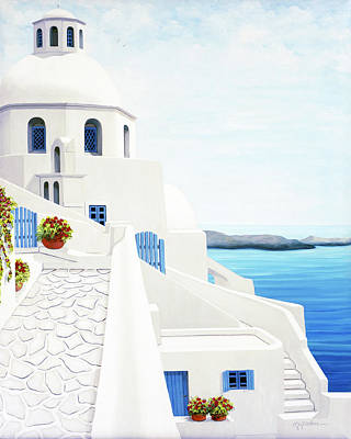 Painting - The Face Of Santorini by Mary Grden Fine Art Oil Painter Baywood Gallery