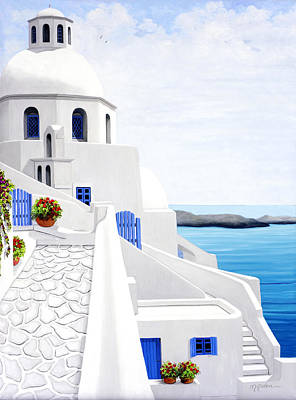 Cross Painting - The Face Of Santorini, Prints From Oil Painting by Mary Grden's Baywood Gallery