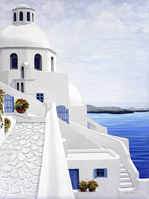 Realism Painting - The Face Of Santorini - Prints Of Original Oil Painting by Mary Grden Fine Art Oil Painter Baywood Gallery