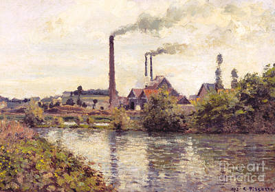 The Factory At Pontoise, 1873 Art Print