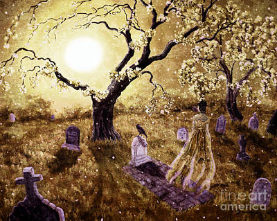 Tombstone Digital Art - The Fading Memory Of Lenore by Laura Iverson