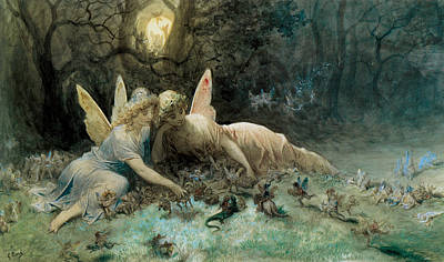 Fantasy Fairy Art Painting - The Fairies  by Gustave Dore