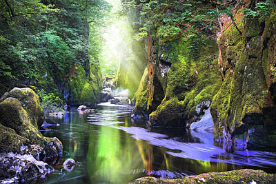 Photograph - The Fairy Glen Gorge River Conwy by Mal Bray