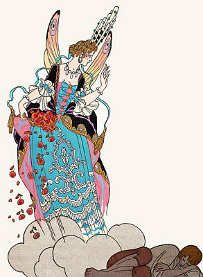 Wings Drawing - The Fairy Godmother by Georges Barbier