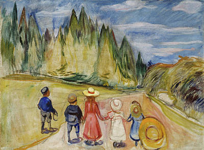 Expressionist Painting - The Fairytale Forest by Edvard Munch