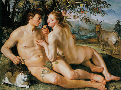 Of Nudes Painting - The Fall Of Man by Hendrik Goldzius