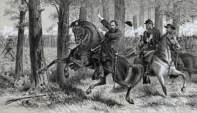 Horseback Drawing - The Fall Of Reynolds by Alfred R Waud