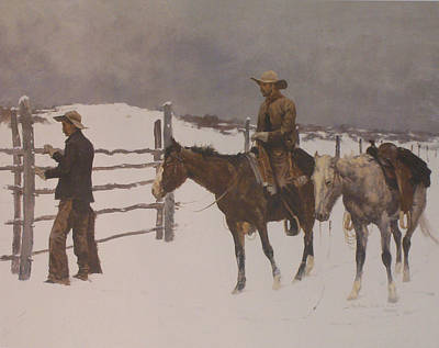 Snow Scene Digital Art - The Fall Of The Cowboy by Frederic Remington