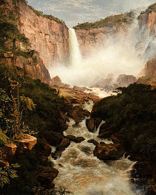 The Falls Of The Tequendama Near Bogota New Granada Print by Frederic Edwin Church