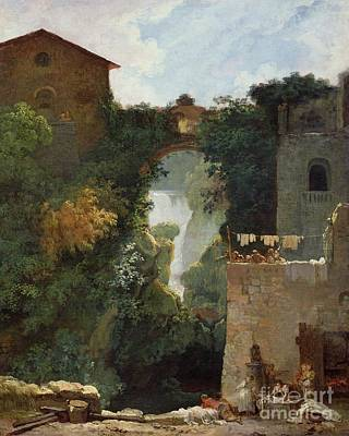Moss Painting - The Falls Of Tivoli by Jean Honore Fragonard