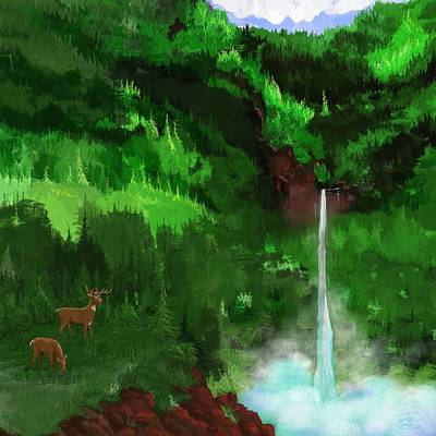 The Falls With Deer Art Print
