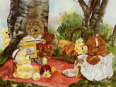 Teddy Bear Watercolor Painting - Family Picnic by TEDDY BEARS ONLY Wendy Tosoff