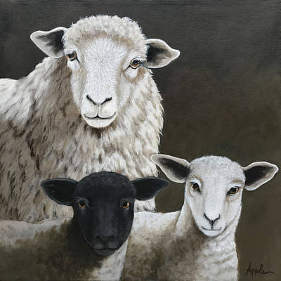 Painting - The Family - Sheep Oil Painting by Linda Apple