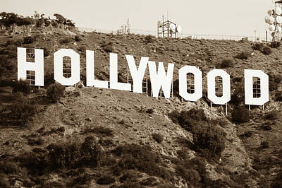 Photograph - The Famous Hollywood Sign In Hollywood California In Sepia by Gregory Ballos