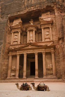 Nabatean Photograph - The Famous Treasury With Two Camels by Taylor S. Kennedy