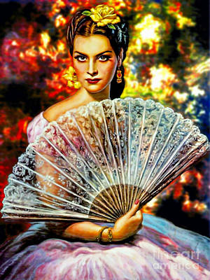 Mixed Media - The Fan Lady by Ian Gledhill