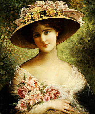 Hats Painting - The Fancy Bonnet by Emile Vernon