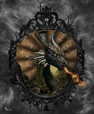 Digital Art - The Fanned Dragon by Ali Oppy