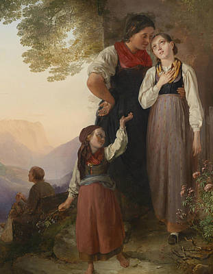 German Art Painting - The Farewell by Ludwig Knaus