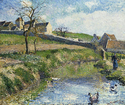 Pond Painting - The Farm At Osny by Camille Pissarro