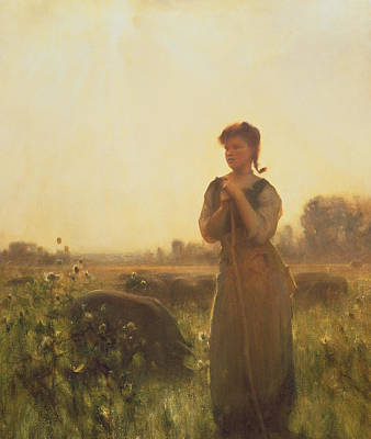 Pig Painting - The Farm Girl by Arthur Hacker