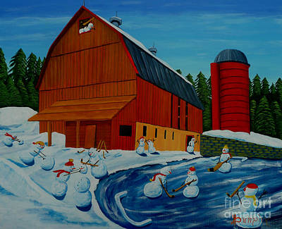Hockey Painting - The Farm Team by Anthony Dunphy