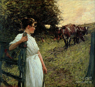 The Shepherdess Painting - The Farmer's Daughter by Henry Herbert La Thangue
