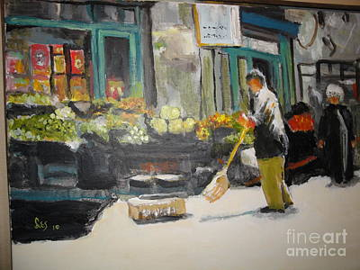 Grocer Painting - The Farmers Market by Les Smith