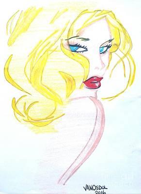 Studio Shot Drawing - The Fashion Model Minimalism Sketched Art by Scott D Van Osdol