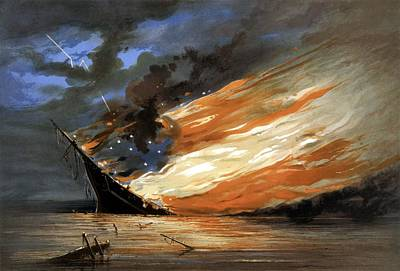 Warships Painting - The Fate Of The Rebel Flag by War Is Hell Store