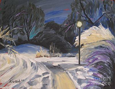 Snowy Night Painting - The Fauvist Path by Rivkah Singh