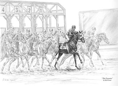 Jockey Drawing - The Favorite - Horse Racing Art Print by Kelli Swan