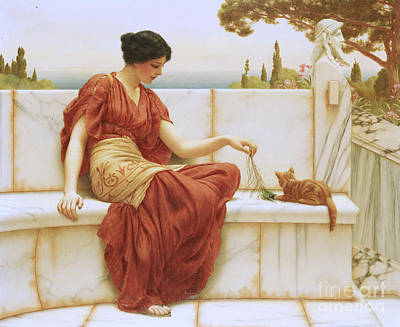 Cat Woman Painting - The Favorite by John William Godward