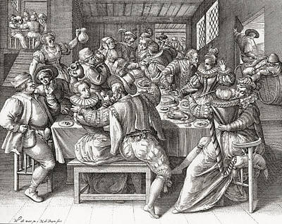 Enjoyment Drawing - The Feast, After A 17th Century by Vintage Design Pics