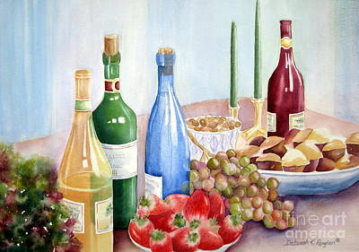 Wine Bottle Painting - The Feast by Deborah Ronglien