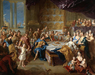 De Troy Painting - The Feast Of Dido And Aeneas. An Allegorical Portrait Of The Family Of The Duc And Duchesse Du Maine by Francois de Troy