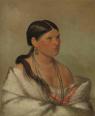 Long Necklace Painting - The Female Eagle by George Catlin