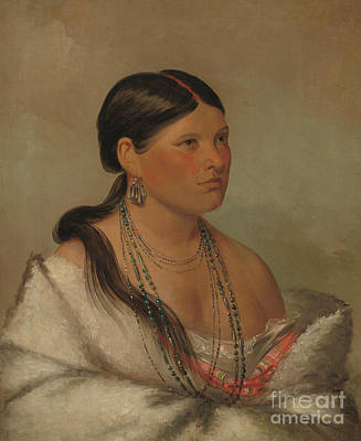 Shawl Painting - The Female Eagle, Shawano, 1830 by George Catlin