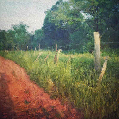 The Fence Posts Along The Road Print by Melissa D Johnston