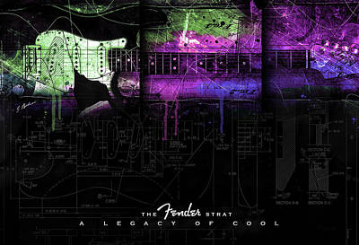 Digital Art - The Fender Strat A Legacy Of Cool by Gary Bodnar