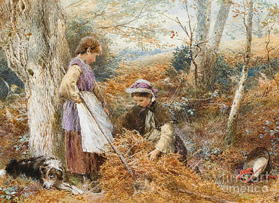 Gatherers Painting - The Fern Gatherers by Myles Birket Foster